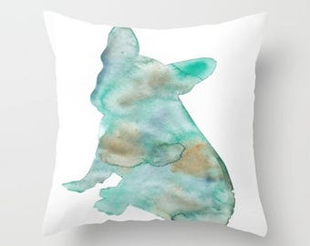 Green Chihuahua Throw Pillow Cover
