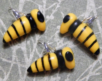 Set of 3: Handmade Honey Bee or Yellow Jacket Charms, Beads Made from Polymer Clay