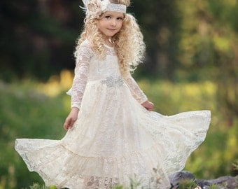 Flower girl dress,girls birthday wedding party bridesmaid holiday Lace flower girl dress ,toddler flower girl dress,Rustic flower girl dress