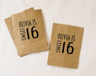 Birthday Party Favor Bags, Sweet 16 Treat Bags, Kraft Paper Bags, Candy Buffet, Popcorn Bags - Customized, Personalized