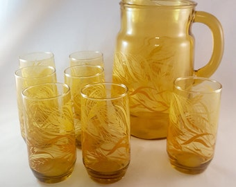 Wheat Drinking Glasses and Pitcher Set - Set of 8