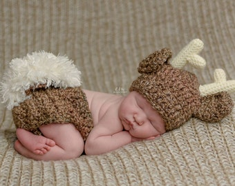 Newborn Deer Outfit - Woodland Nursery - Baby Outfit - Baby Shower Gift - Newborn Photo Prop - New Dad Gift - Woodland Baby Shower - Baby