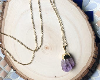 Gold Dipped Amethyst Pendant