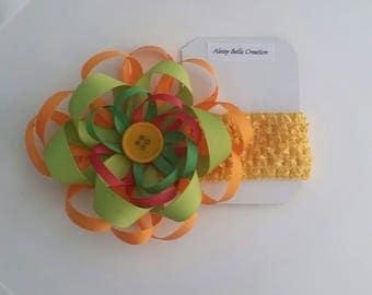 Multi- orange crochet baby/toddler headband