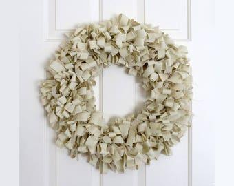 Rag Wreath, Burlap Wreath, Cream Fabric Wreath, Muslin Wreath, Shabby Decor, Rustic Wreath, Door Hanger,  18 Inch Wire Frame, Wall Decor