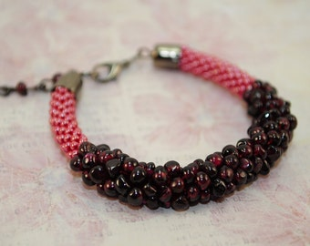 Valentine garnet bracelet handmade valentine's energy love beaded genuine small girlfriend gift for her red january bridesmaid jewelry