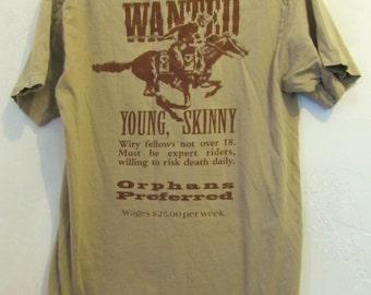 C0UPON C0DE Sale!!A Cool Vintage 90's,Tan Short Sleeve PONY EXPRESS Postal T Shirt By SFI.S