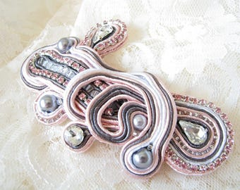 Rhinestone barrette Girl gift for her Pink barrette Gray barrette White barrette Hair Clip Bohemian Clip Crystal Hair Jewelry Victorian clip