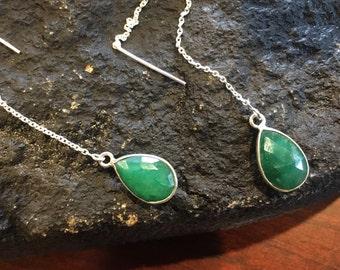 Chain Threader Earrings May Birthstone Raw Emerald Earrings Taurus Birthstone Silver Earrings Silver Emerald Earrings Dangle Silver Earrings