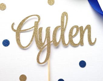 Glitter name cake topper - first birthday - custom cake topper - celebrate - party decor - suprise- name cake topper - personalized topper