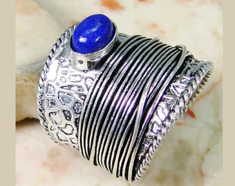 Sterling silver embossed Lapis Lazuli wide band ring