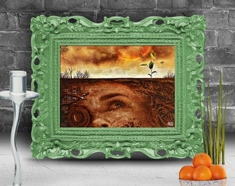 Woman in a desert looking for a sprout of hope.  Surreal fine art print   FRAMED