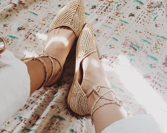 Moroccan  nude sandals bohemian,raffia shoes,raffia crafts,woven shoes