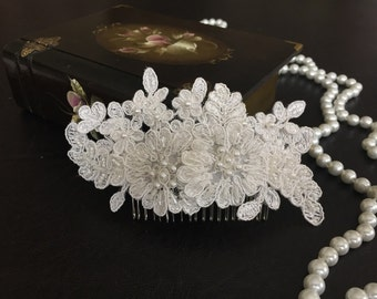 Bridal Hair Accessories, Wedding Head Piece, Ivory Beaded Lace, Pearl
