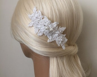 Bridal Hair Accessories, Wedding Head Piece, Ivory Lace, Pearl, Rhinestone, Comb, Snap Clip