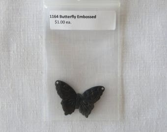 1164 Butterfly charm, embrossed black bronze