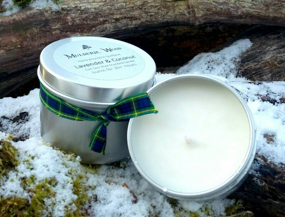 Lavender and Coconut Natural Soy Wax Handmade in Scotland Tin Candle