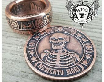 """MEMENTO MORI Coin Ring """" last laugh """" 1oz Handcrafted .999 Pure Copper."""