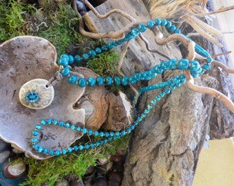 Necklace, wooden necklace, wood beads, ceramic pendant, 'Dreams off Atlantis' Waldorf, Gipsy