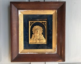 Antique French Gothic framed wall mounted bronze icon Jesus Last Supper