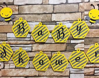 Bumble Bee Banner, Bee Baby Shower Banner, Neutral Baby Shower Banner, Babee Shower Banner, Bee Birthday Banner