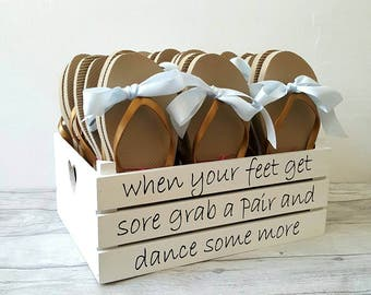 Wedding shoes box, dancing shoes, flip flop box for weddings, thong box, wooden box, apple crate, rustic wedding, bridal party shoes, Boho