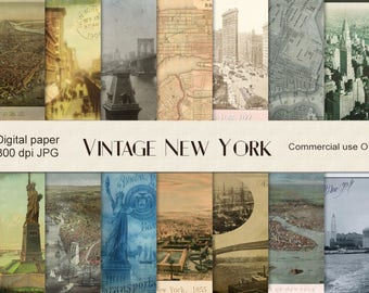 Old New York digital paper, vintage maps, vintage New York, old New York, antique maps scrapbook, instant download, NY, NYC, background CU