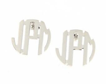 Medium Sterling Silver Circle Monogram Stud Earrings
