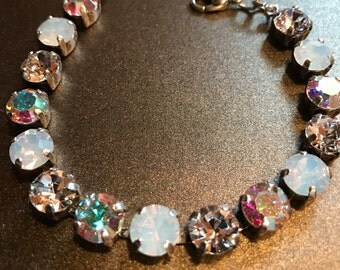 Made with Swarovski Crystals Necklace, Bracelet and Earrings - White Opal, Aurora Borealis and Clear Crystals