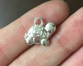 12 Silver Tortoise Charms 2-Sided Turtle Charms Tortoise Charm Turtles - 0701