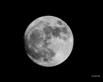 Super Moon Photography, Fine Art Photography, FREE SHIPPING, Nature Photography, Home Decor, Moon Wall Art, Black and White Photography