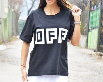 "Maxi Extravagant Black "" Off "" Cotton T-shirt, Short Sleeve Oversize Shirt, Handmade Print T-shirt, Casual Top by SSDfashion"