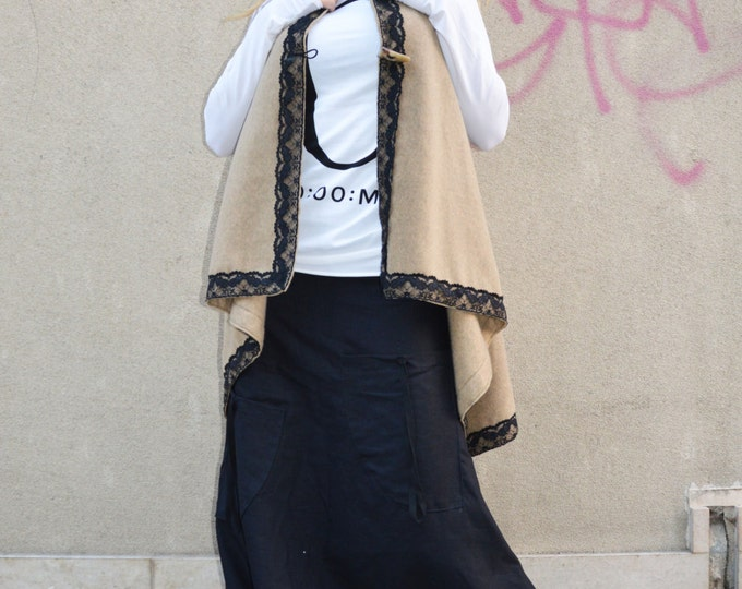 Asymmetric Maxi Coat With Lace, Plus Size Available, Loose Sleeveless Coat, Winter Wool Vest by SSDfashion