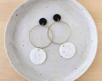 Brass Hoop Earrings in a two tone colourway
