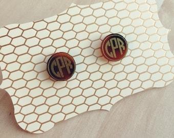 Monogrammed Acrylic Earrings-Monogrammed Acrylic Studs-Tortoise Monogrammed Earrings-Tortoise Stud Earrings-Tortoise Shell Earrings