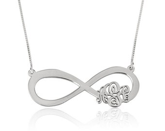 Sterling Silver Inifinity Monogram Necklace, Infinity necklace, infinity monogram, Personalized infinitiy necklace,