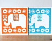 Retro Elephant Card Happy Elephant Birthday Card Scandinavian Elephant Elephant Flowers Screen Print Orange Blue