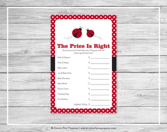Ladybug Baby Shower Price Is Right Game - Printable Baby Shower Price Is Right Game - Ladybug Baby Shower -Price Is Right Game - SP140