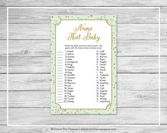 Mint and Gold Baby Shower Name That Baby Game - Printable Baby Shower Name That Baby Game - Mint and Gold Confetti Baby Shower - SP147
