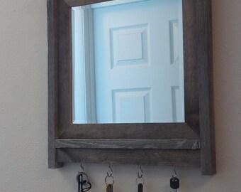 barnwood framed mirror, , key holder,  barnwood frame, reclaimed wood mirror,  beveled mirror, mirrored key holder, key hook