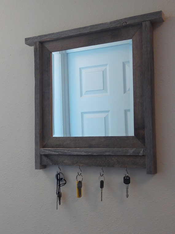 Barnwood framed mirror key holder barnwood frame for Mirror key holder