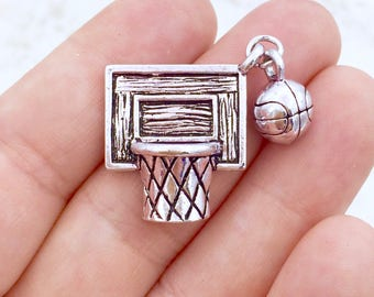 Basketball Charms - Basketball Net Charms - Basketball Backboard Net Ball Charms - Sports Charms - Tibetan Silver Charm (BBL003-2)