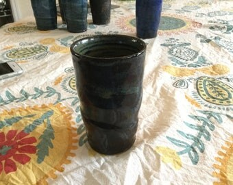 Deep green wheel thrown ceramic pottery tumbler cup