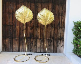 Pair Of Mid-Century Modern Tommaso Barbi Large Brass Rhubarb Leaf Floor Lamps, Italy 1970's. Second Pair Available Upon Request.