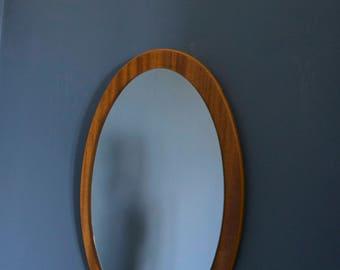 Mid Century Teak Oval Mirror
