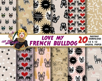 French Bulldog digital paper, bulldog scrapbook, dog paw, card, decoration, animal paper, Scrapbooking Paper, dog patterns, backgrounds