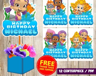 12 Bubble Guppies centerpieces,Bubble Guppies printable centerpieces,Bubble Guppies party supplies,Bubble Guppies birthday, decorations