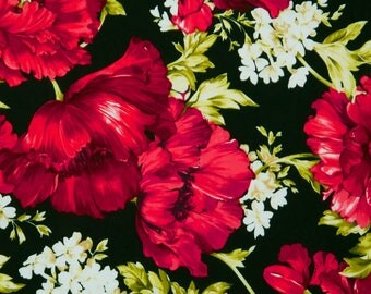 """Timeless Treasures Audrey Poppies & White Flowers  Premium 100% cotton 44"""" fabric by the yard  (TT20)"""