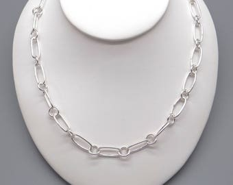 """Handmade Sterling Silver Oval Round Link Chain Adjustable Necklace 16"""" to 17"""""""