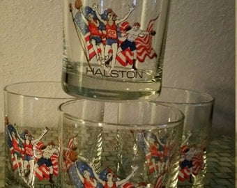 Halston 1992 Summer Olympic Low Ball Glasses Set of 4